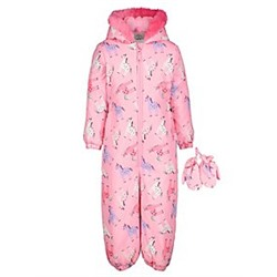 Pink Unicorn Shower Resistant Snowsuit with Mittens