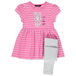 Bunny Print Dress and Leggings Set