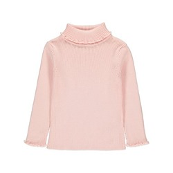 Pink Ribbed Roll Neck Jumper